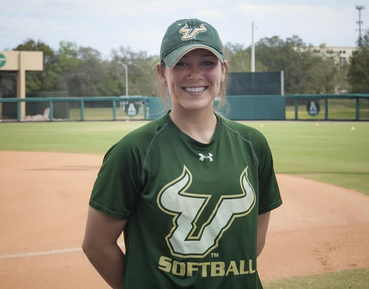 South Florida Bulls' Lee Ann Spivey is an All-American catcher who recently got engaged.