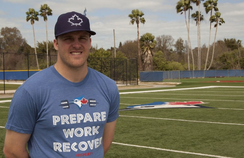 Mitch Nay at the Bobby Mattick Training Center for the Toronto Blue Jays in Dunedin, Fla.