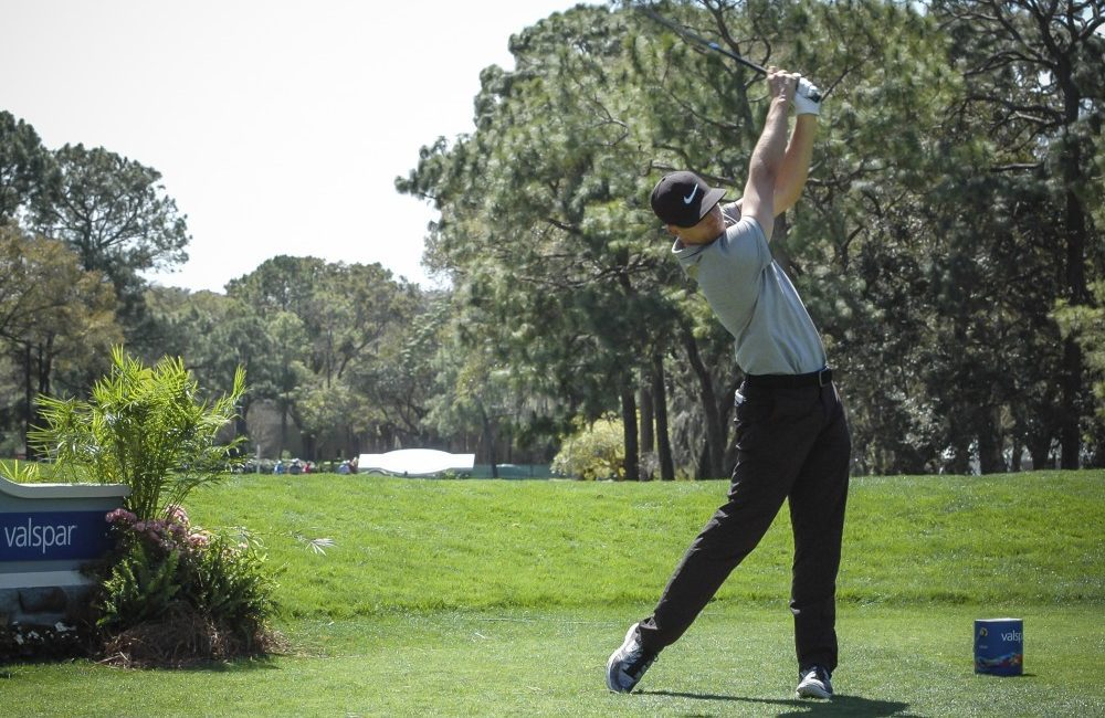Scott Pinckney takes a swing on the 18th hole of the Innisbrook Resort and Golf Club in a practice round on Tuesday. Pinckney is competing in the 2016 Valspar Championship later this week.