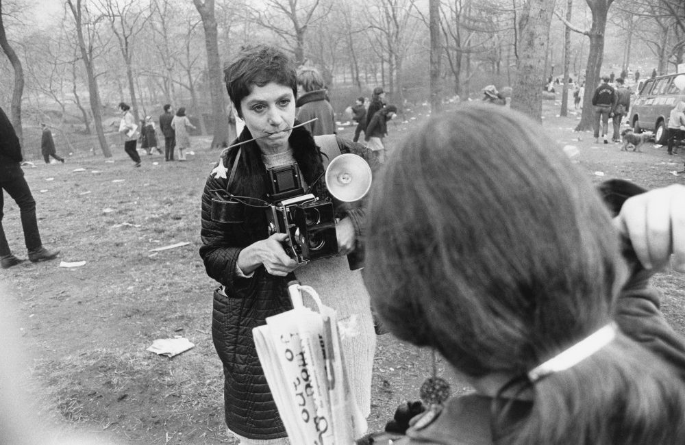 """Diane Arbus, Love-In, Central Park, New York City, 1969"" printed around 1983 on gelatin silver print.  Arbus also shows in the Outsiders exhibit at the AGO until May 29."