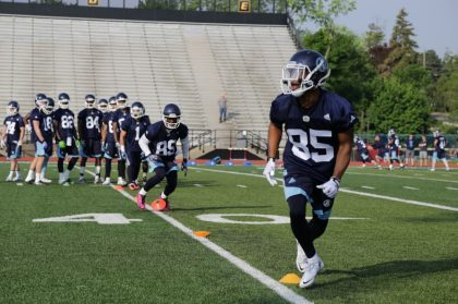 Diontae Spencer runs pass drills at Argo camp in Guelph.