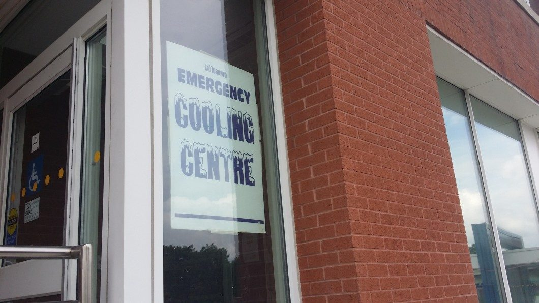 A cooling centre has been set up at the East York Civic Centre, one of seven locations in Toronto.