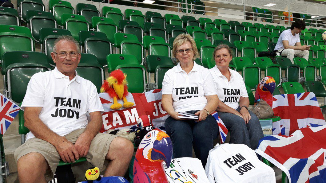 Alan Cundy, Ann Cundy and Lynn Bayes decked out with their display for Alan and Ann's son Jody at the Rio Velodrome on Friday, September 9, 2016.