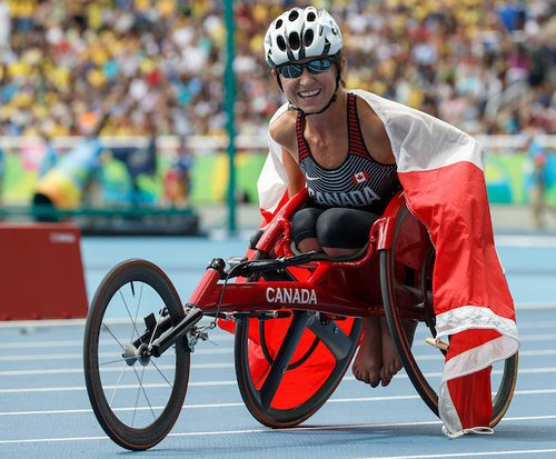 Michelle Stilwell CAN Gold Medallist in the Women's 400m - T52 Final in the Olympic Stadium. The Paralympic Games, Rio de Janeiro, Brazil, Saturday 10th September 2016.