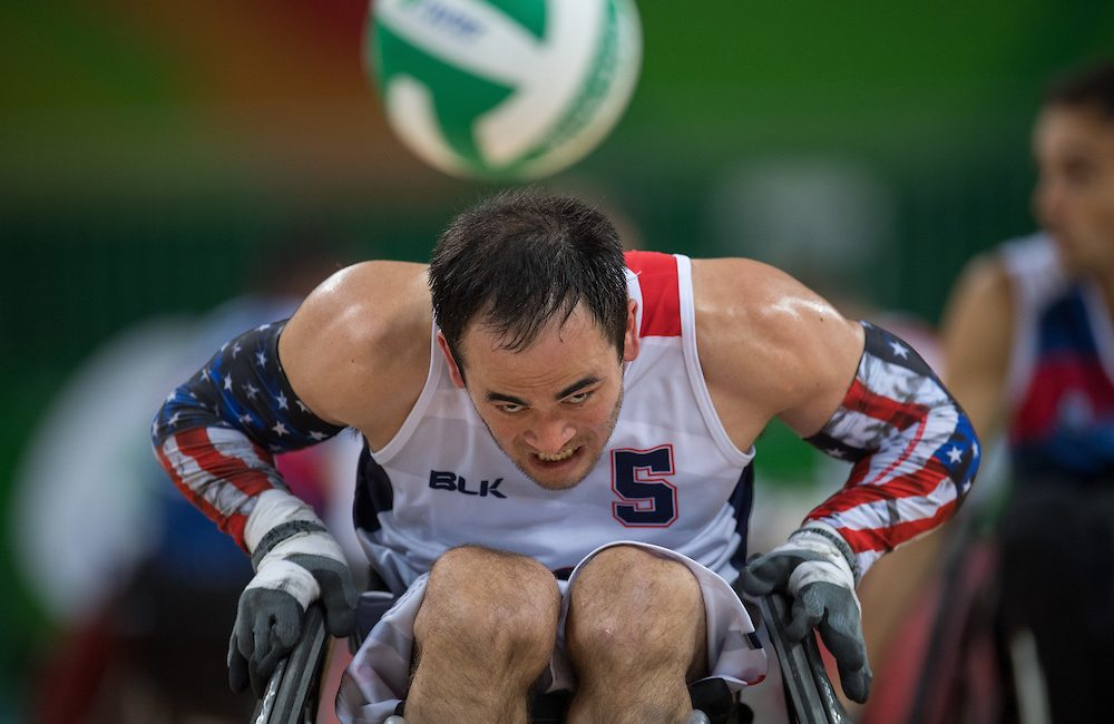 Chuck Aoki USA chases the ball down. Mixed - Pool Phase Group B, Match 021. Wheelchair Rugby at the Carioca Arena 1. The Paralympic Games, Rio de Janeiro, Brazil, Wednesday 14th September 2016.