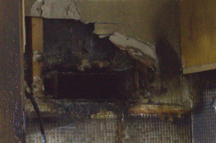 Part of the burnt wall.