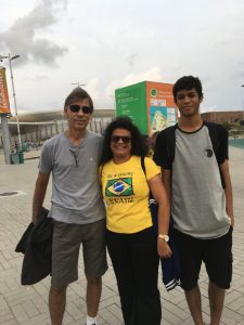 Jorge Ribeiro (Left), his wife Dilma and son Emmanuel stand on the pathway to the Olympic Aquatics Center in Rio de Janeiro, Brazil on September 15, 2016.