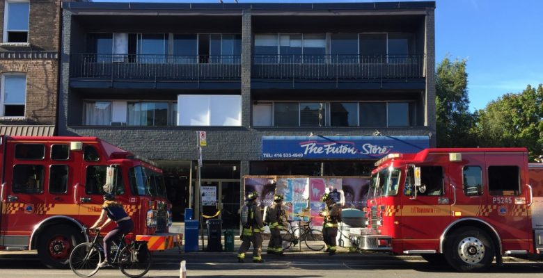Toronto Fire Services respond to a natural gas leak at the corner of Bloor Street West and Howland Avenue.