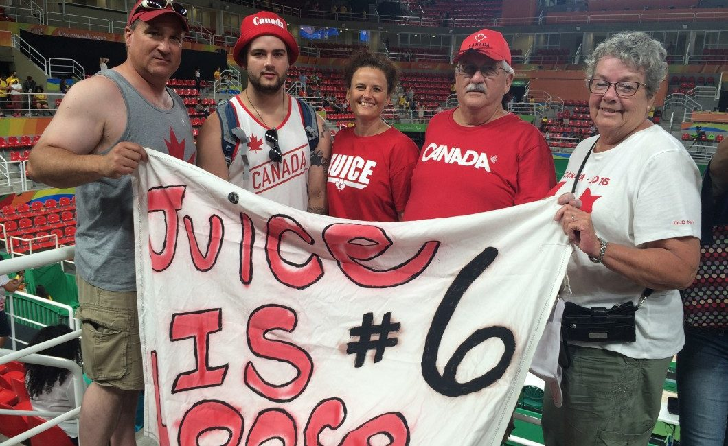 """Women's Paralympic wheelchair basketball player, Arinn """"Juice"""" Young has her family on hand from Alberta to cheer her on against the Brazilians. From left: Rick (father),  Jackson (brother), Colleen (mother),  Gordon (grandfather) and Joan (grandmother).  (KYLE MORRISON/TORONTO OBSERVER)"""