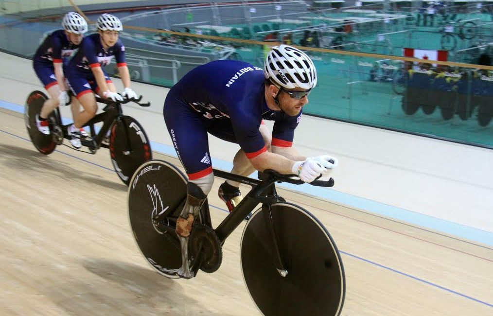 Jody Cundy of Great Britain practises on the track at the Rio Velodrome in 2016.