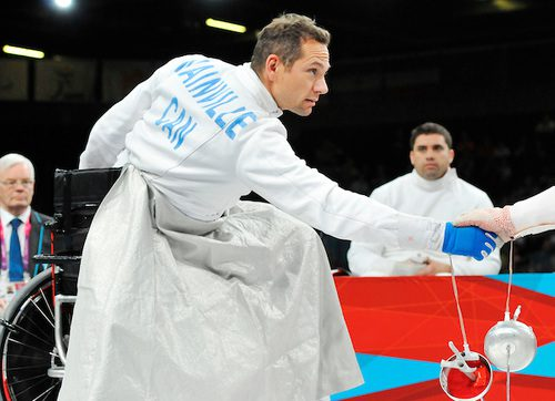 Pierre Mainville competes in the men's individual epee at the London 2012 Paralympic Games.