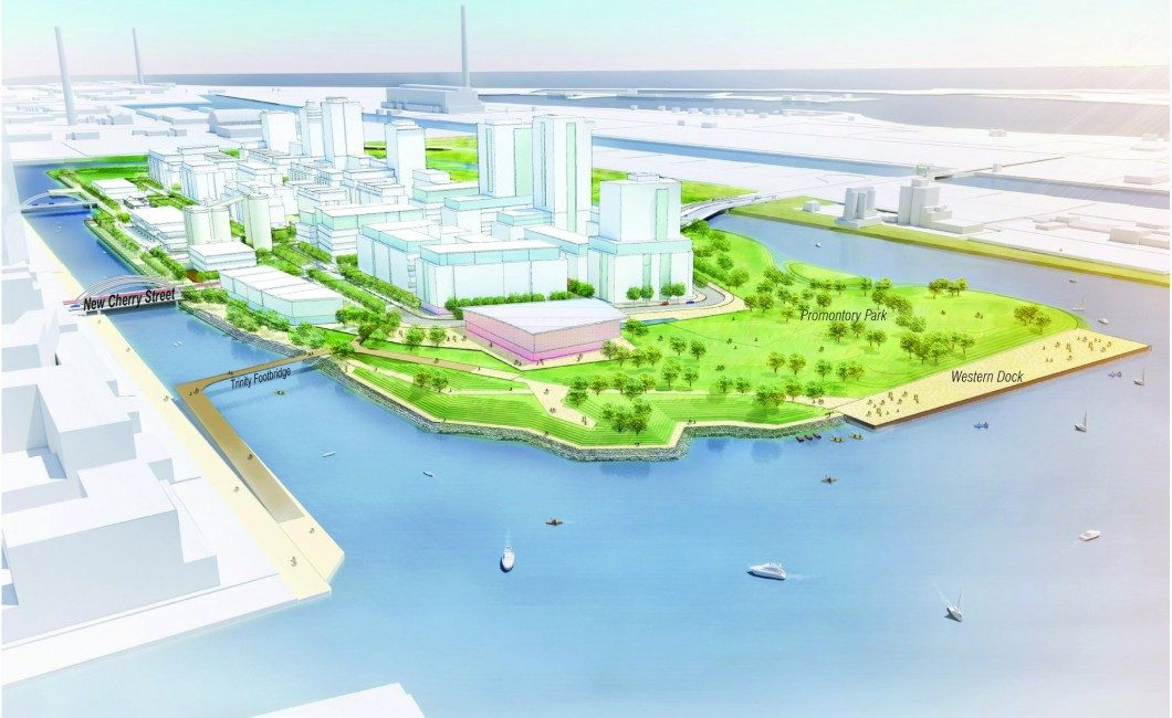 Photo rendering of what the Port Lands is expected to look like after the lake-filling project.