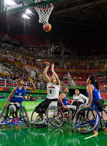 September 10th, 2016 in Rio. Canada vs. Argentina - Women's Wheelchair Basketball. Canadian Janet McLachlan shooting.