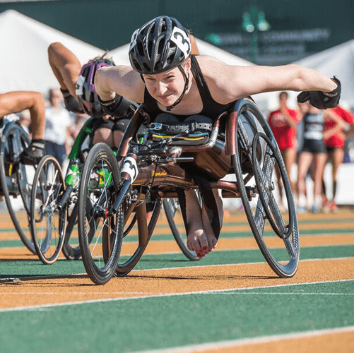 Ilana Dupont, during a race. Photo courtesy of the Canadian Paralympic Committee.