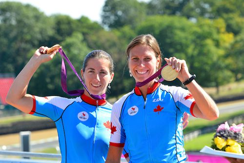 Robbi Weldon, left, with pilot Lyne Bessette, captured gold in the women's Individual B Road Race in the 2012 London Paralympics.