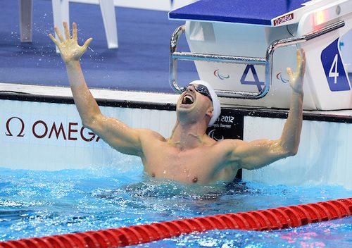 Benoit Huot celebrating his win in the Men's 200m IM - SM10 finals at the London 2012 Paralympic Games in the Aquatics Centre.