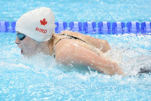 Morgan Bird swims in the Women's 4x100m Medley at the London 2012 Paralympic Games in the Aquatics Centre.  (Photo by Matthew Murnaghan/Canadian Paralympic Committee)
