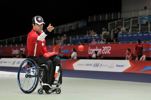 Marco Dispaltro competing in the 1/8 finals of the individual Boccia BC4 at the London 2012 Paralympic Games.
