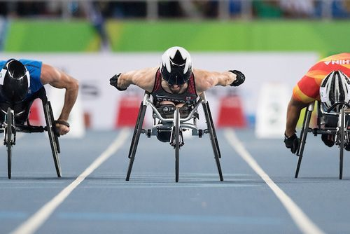 Brent Lakatos competes in the Men's 100m - T53 Final in the Olympic Stadium during the Rio 2016 Paralympic Games.