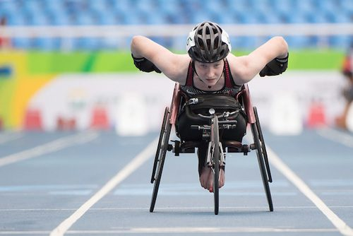 Ilana Dupont placed fourth in her heat of the T-53 100m sprint on Thursday. Photo courtesy of Canadian Paralympic Committee.