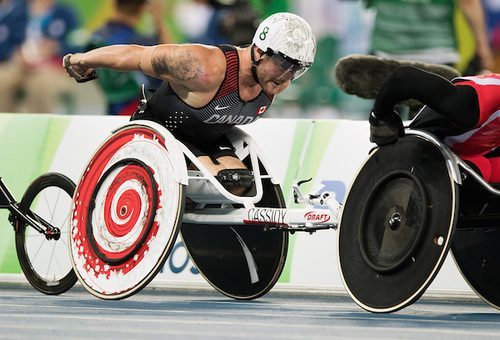 Josh Cassidy pushes for the podium in the men's 5,000m T54 final on Sunday in Rio. Photo courtesy of the Canadian Paralympic Committee.