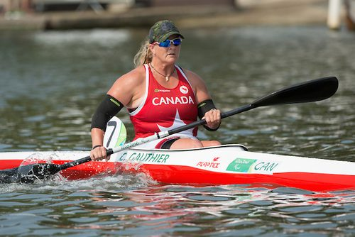 Christine Gauthier of Canada competes in the Women's KL2 Final Canoe Sprint at Lagoa Stadium during the Rio 2016 Paralympic Games. (Photo by Matthew Murnaghan/Canadian Paralympic Committee)