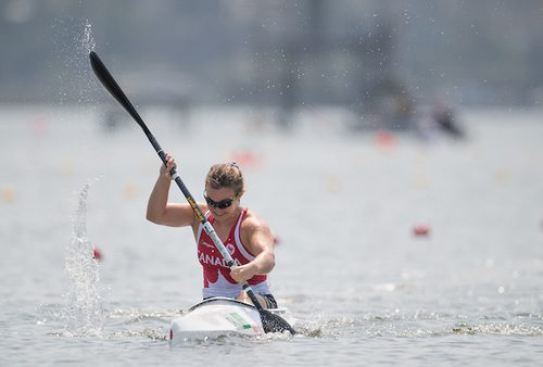 Erica Scarff competes in the women's KL3 canoe sprint at the Lagoa Stadium during the Rio Paralympic Games.