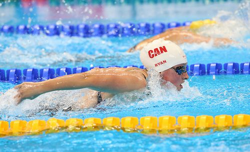 Canadian swimmer  Samantha Ryan competes in the women's 100m butterfly  at the Olympic Aquatic Centre during the 2016 Paralympic Games in Rio.