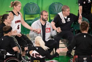 RIO DE JANEIRO - 16/9/2016: Canada vs. People's Republic of China in wheelchair basketball classification playoff 5/6, match 67 during the Rio 2016 Paralympic Games in Rio de Janeiro, Brazil.