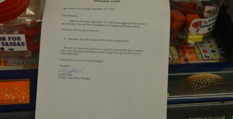 Notice give to vendors that the Saturday edition of the Toronto Star will now cost $3.50