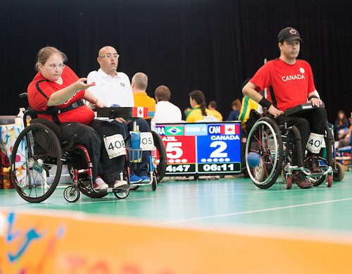 Toronto, ON - Aug 8 2015 -  Marco Dispaltroa and Alison Levine competes in Pairs BC4 - Round 3 vs. Brazil in the Abilities Centre during the Toronto 2015 Parapan American Games  (Photo: Matthew Murnaghan/Canadian Paralympic Committee)