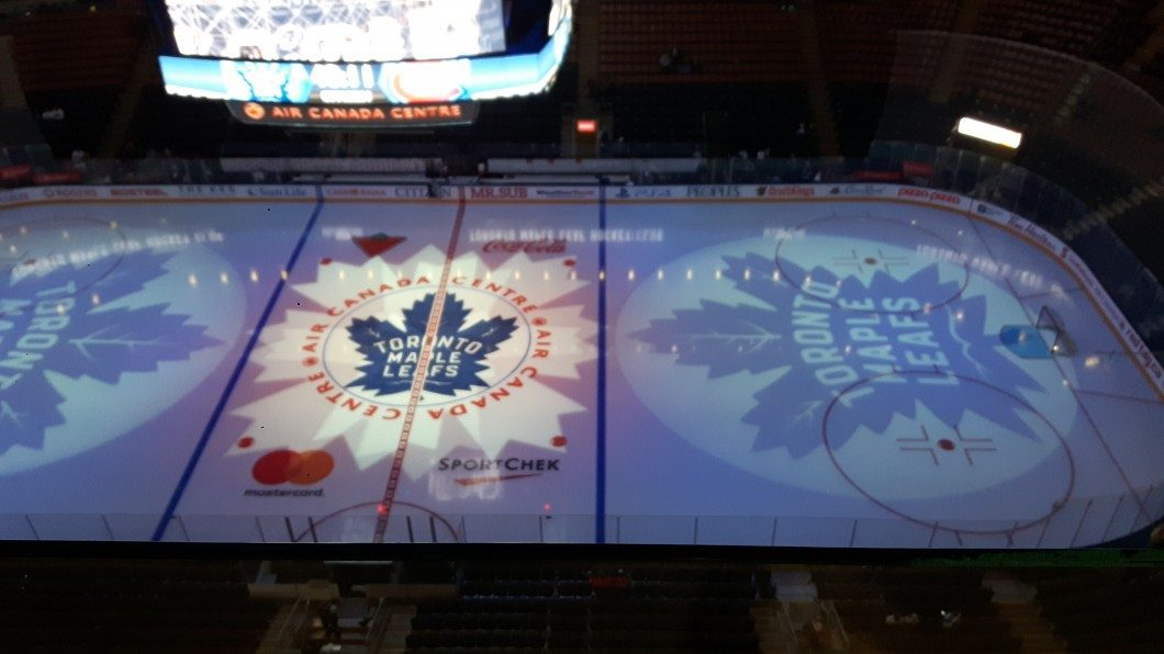 View of the ice at Air Canada Centre prior to the game between the Toronto Maple Leafs and Montreal Canadiens on October 2nd, 2016