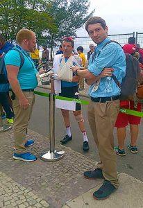 Jamie Johnstone interviewing cyclist Tristen Chernove in Rio