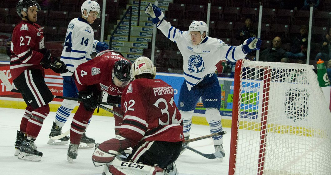 Owen Tippett, right, celebrates the 11th goal of the game for the Mississauga Steelheads in an 11-3 romp against the Guelph Storm.