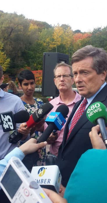 Mayor Tory speaking in a media scrum