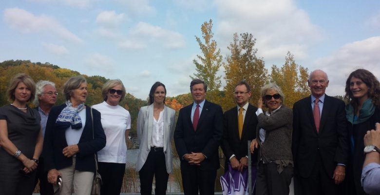 """On Tuesday morning, Mayor John Tory posed with some of the private donators for the upcoming """"super park"""" in the Don Valley"""