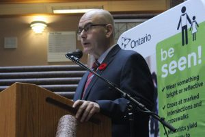 Ontario Transportation Minister Steven Del Duca speaks about the Be Alert, Be Seen campaign at the Toronto Police Headquarters on Tuesday November 1. He says that his ministry is committed to taking strong steps to improve pedestrian safety.