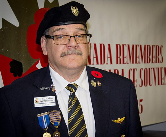 Jim LeRoy at Royal Canadian Legion, Branch 11, Remembrance ceremony, Nov. 6.