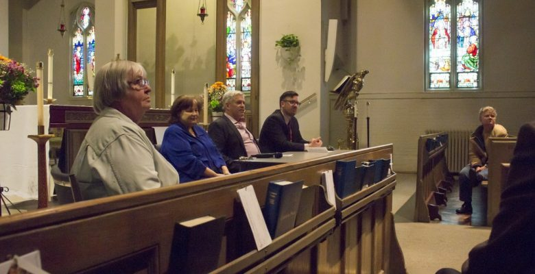 From left to right, at an Earth Day event by St. Cuthburt's Church, event organizer Lorna Krawchuk sits at a panel beside Toronto District School Board trustee Gerri Gershon, MPP for Beaches-East York Arthur Potts and spokesperson for the Anglican Church of Canada Ryan Weston. Panel members answered questions about environmentalism.