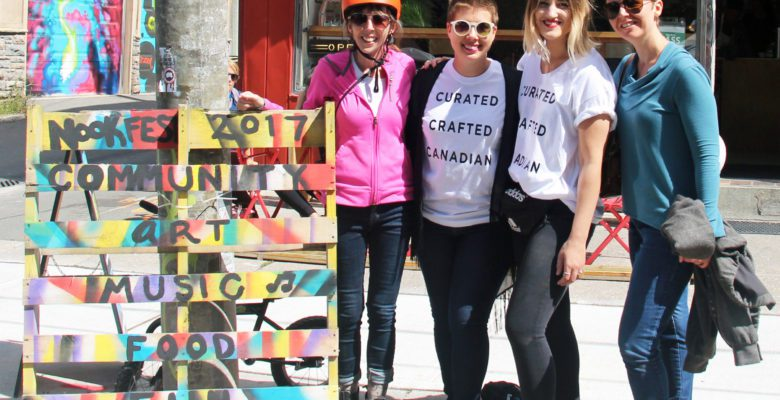City Counc. Mary-Margaret McMahon (left), The Nooks owner Colleen Imrie (second from the left), Tara Jeronimus (second from the right), and Laneway project co-founder Michelle Senayah pose at Saturday's nookFEST