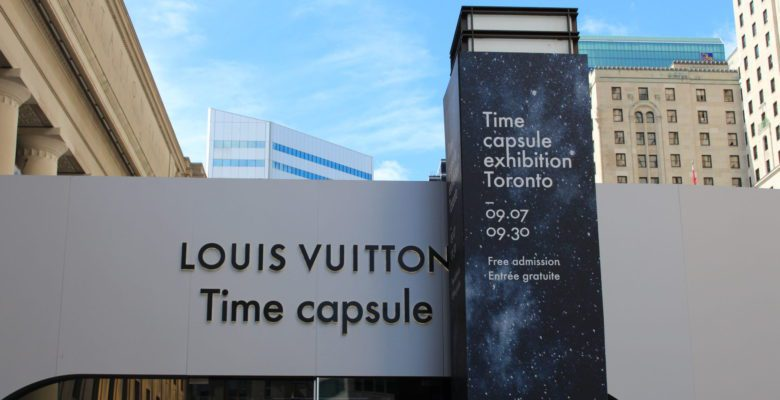 The Louis Vuitton Time Capsule Exhibition located on Front St. outside of Union Station.
