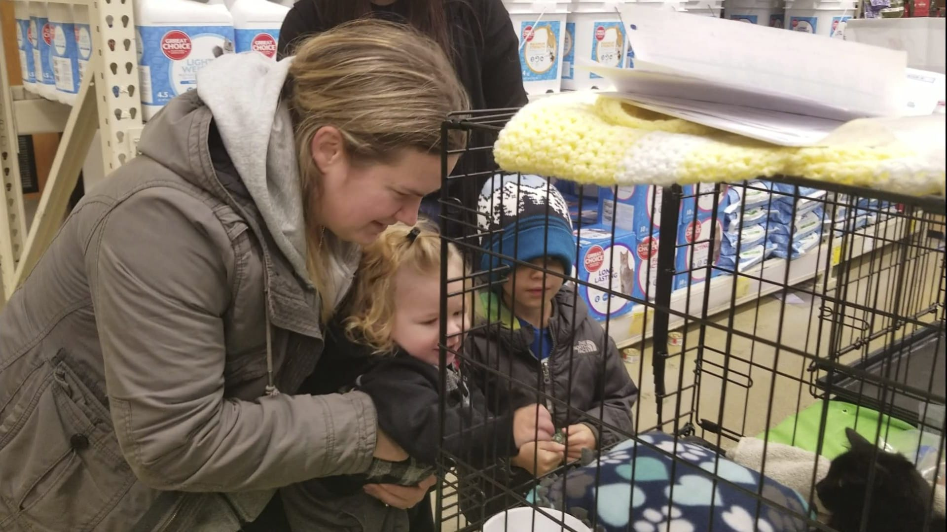 A woman and two boys pet a black cat