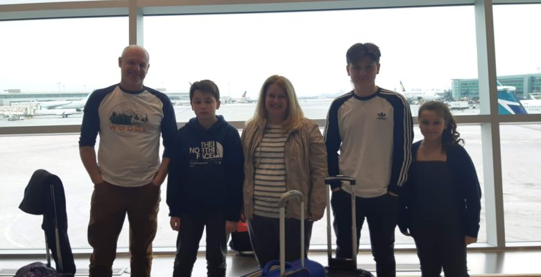 Jennifer Still and family at Pearson International Airport