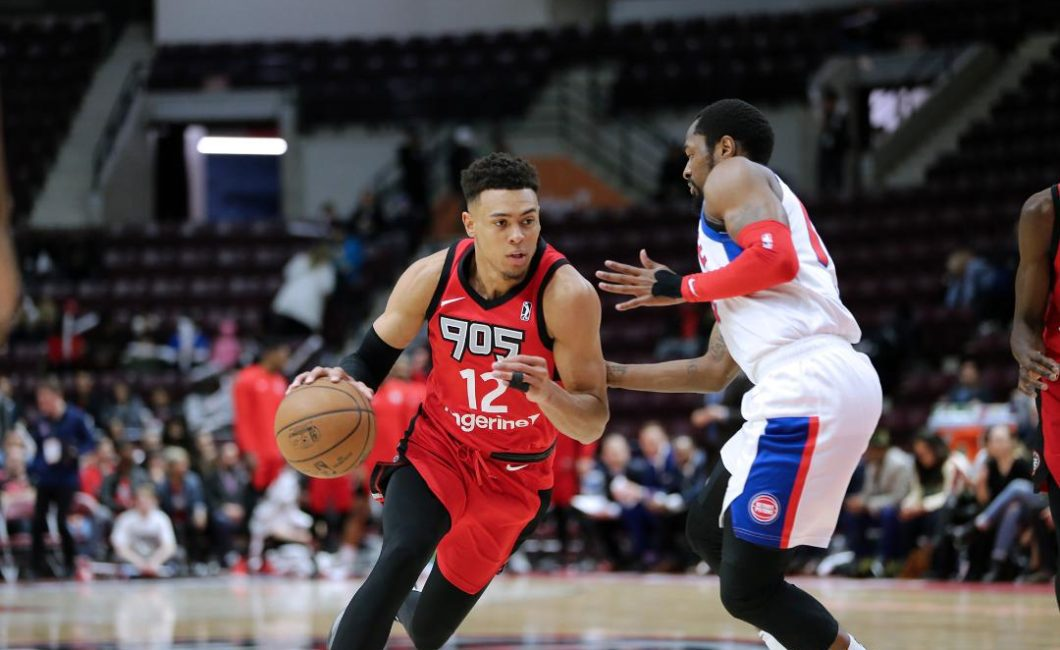 d6d2be6c4f4e Raptors 905 guard Wade Baldwin IV drives on opposing Grand Rapids Drive  guard Kalin Lucas during the first round of the G League playoffs.