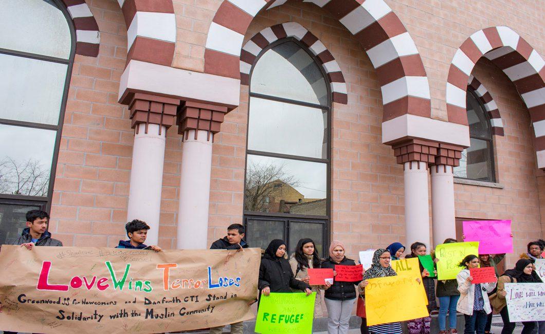 Students outside of Madinah Masjid on Danforth Avenue