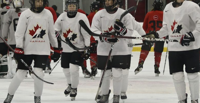 Team Canada at practice last Saturday before leaving for the world championships.
