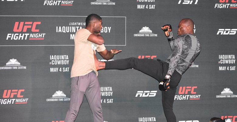 Derek Brunson and training partner show off for the UFC fans during open workouts at Barrymore's Music Hall in Ottawa.